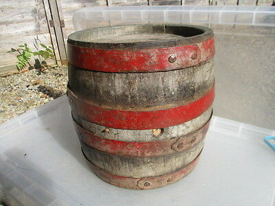 Vintage Wooden Barrel with Iron Straps Keg Brewing Old Antique