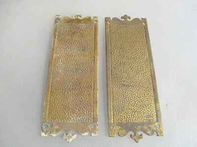 Antique Brass Finger Plates Push Door Handles Hammered Fleur di lis Vintage Old