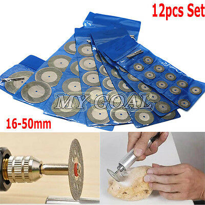 10X Mini Diamond Saw Blade Cutting Disc Rotary Wheel Grinding +2 Mandrel Dremel