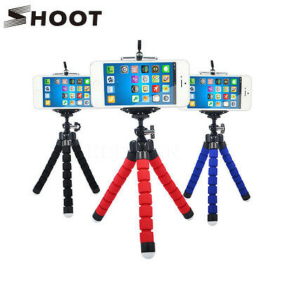 SHOOT Black Flexible Sponge Octopus Tripod Stand Mount With Holder For Phone