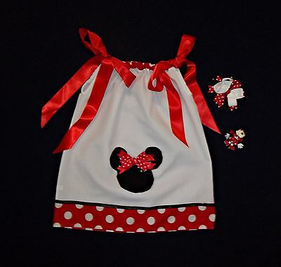 New! Minnie Mouse Pillowcase Dress 3-in-1 Bow Ribbon Sculpture Girl 4 4T Set Lot