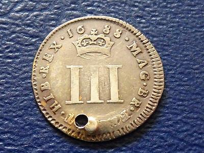 Great Britain - Rare James 11 Silver Maundy Threepence 1688 Nice Coin Holed