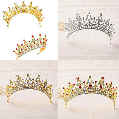 Wedding Royal Crown Crystal Rhinestone Prom Pegeant Tiara Bridal Veil Head band