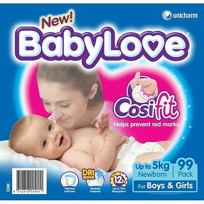 Babylove Nappies Newborn JUMBO 99(Limit of 1 per order) NEW