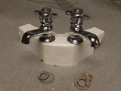 Vtg Pr Chrome Hot Cold Faucets Spring Loaded Handles Standard Plumbing 470-16