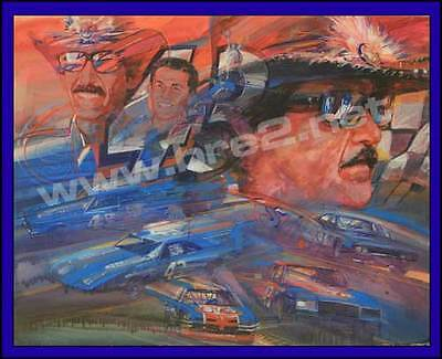 """""""The King"""" Richard Petty Original George Bartell watercolor, pen, and ink art"""