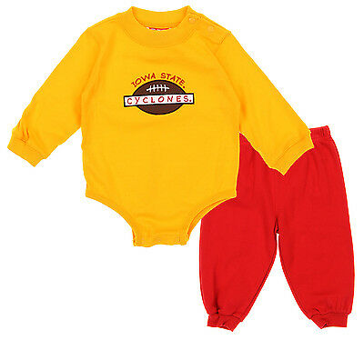 NCAA Infant Iowa State Cyclones Creeper Top and Pants Set, Gold/Red