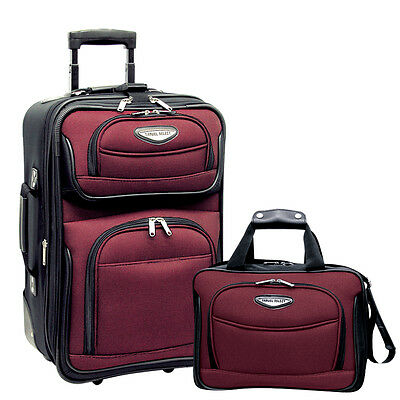 Traveler Choice Red Amsterdam 2pc Carry-on Expandable Wheel Luggage Tote Bag Set