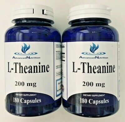 2 X L-Theanine 200mg High Potency 360 Capsules Stress Anxiety PMS Relief