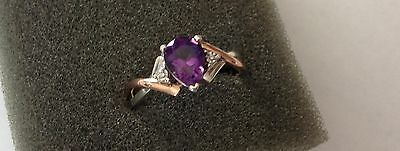 Estate 10K Rose-Gold & Sterling Silver Amethyst and Diamond Ring