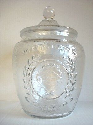 Vintage 1980s MOTHER'S COOKIE JAR Clear Pressed Glass Clean & Perfect Condition