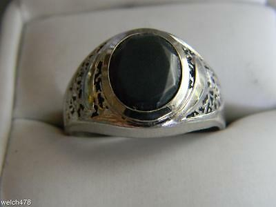 Clark & Coombs 925 Sterling Silver & Oval Hematite Solitaire Men's Ring Sz.12.25