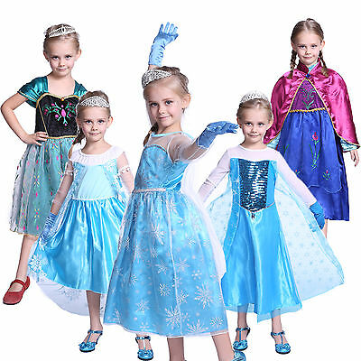 Kids Girls Queen Frozen Elsa Anna Costume Christmas Cosplay Party Fancy Dress
