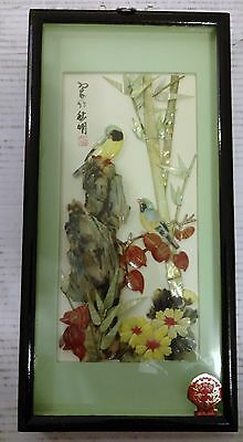 Vintage Bird Bamboo Shell Carving Pictures Talien China Art Shadow Box Signed
