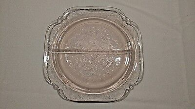 Vintage 1970's Indiana Glass Recollection (Madrid) Grill/Relish Plate in Pink