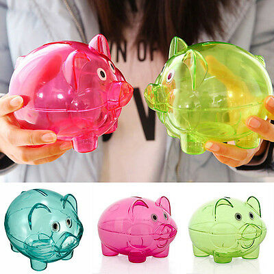 Clear PIGGY Bank Coin Money Plastic Cash Openable Saving Box Kid Pig blue