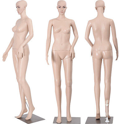 New Female Mannequin Plastic Realistic Display Head Turns Dress Form Iron Base