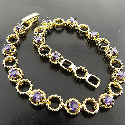 A382 Genuine Real 18K Yellow G/f Gold Amethyst Antique Style Bracelet Bangle