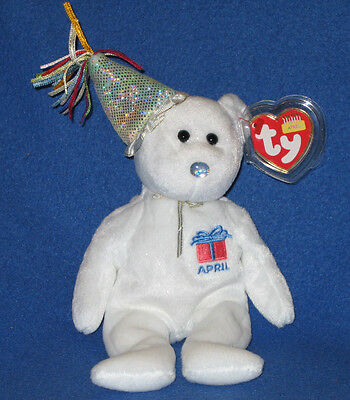 TY APRIL the BIRTHDAY BEAR BEANIE BABY - MINT with MINT TAGS