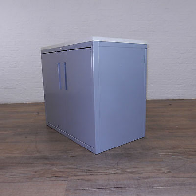Grey Two Door Cabinet With A White Top & 1x Shelf