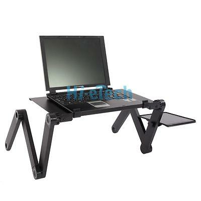 New 360°Folding Aluminum Alloy Tablet Laptop Desk Table with Mouse Plate
