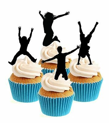 Novelty Trampolining Collection 12 Edible Stand Up wafer paper cake toppers