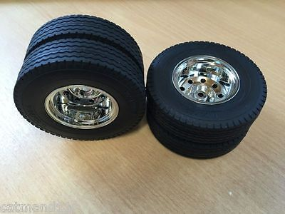 Tamiya 1/14 Trailer Rear Wheels Tyres Set