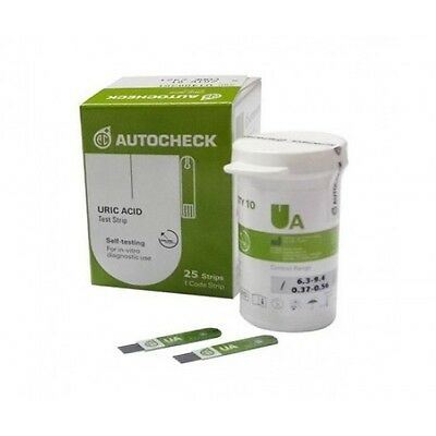Test for Strips AutoCheck Uric Acid Test Strips - 1 Box 25 Strips
