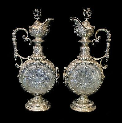 Silver Pair Of Antique Carafes