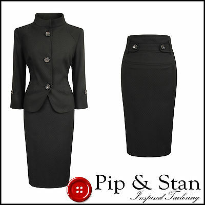 Next Uk14 Us10 Brown Pencil Skirt Suit 50S Style Womens Ladies Size Pip And Stan