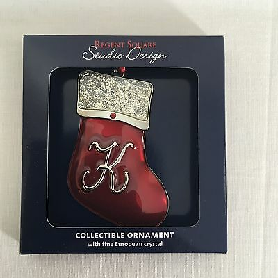 "ENAMELED METAL ""K"" MONOGRAM CHRISTMAS STOCKING TREE ORNAMENT With CRYSTALS NEW"