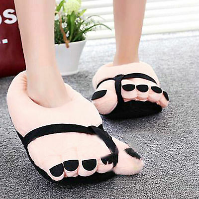 Warm Soft Plush Slippers Funny Winter Indoor Toe Big Feet Novelty Gift 26CM