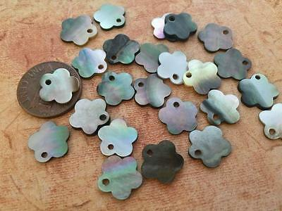 Old Stock 12mm Grey Shell Flower Shape Drop Beads Charms 24