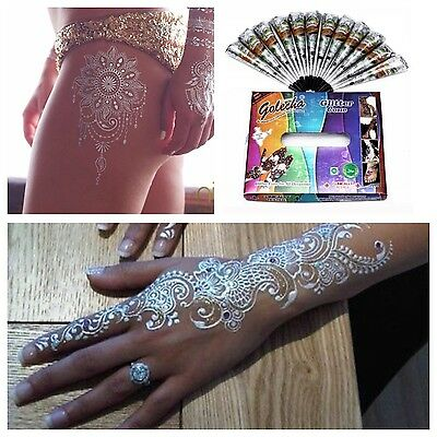 2 X SILVER SPARKLY HENNA DECORATIVE  Glitter Gel Cone Tattoo Body Art Arabic 25g