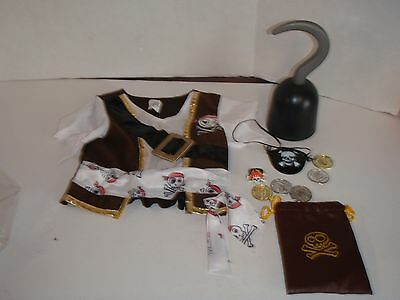 PIRATE EYE PATCH HOOK HAND 2T CHILD COSTUME shirt TOY COINS POUCH ACCESSORIES