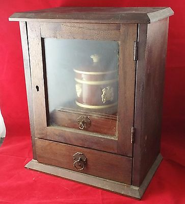 Early 20th c Wooden Smokers Cabinet W Pipe Rack,  2 Drawers & Sarreguemines Bowl