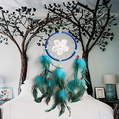 Lace Flower Blue Dream Catcher with Feathers Wall or Car Hanging Ornament Gift