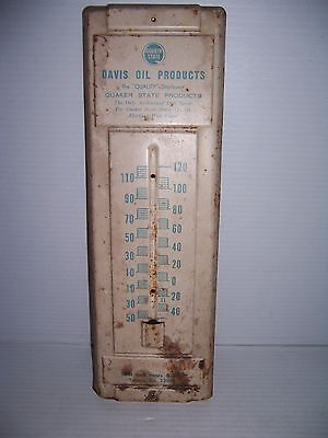 Vintage Quaker State Davis Oil Products Advertising Thermometer Housing