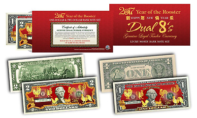 2017 YEAR OF THE ROOSTER DUAL 8's Chinese New Year OFFICIAL CURRENCY US Bill Set