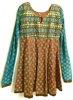 Ethnic Indian Party Dress (Size S - M) Jade Green Brown Metallic Gold Zari Pint