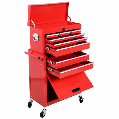 2pc Large Red Portable Rolling Tool Box Locking Storage Chest Cabinet w/ Wheels