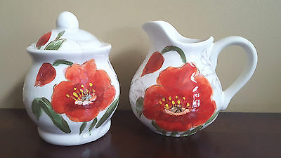 NEW Maxcera Red Poppy Flower Cream and Sugar Set Hard to Find