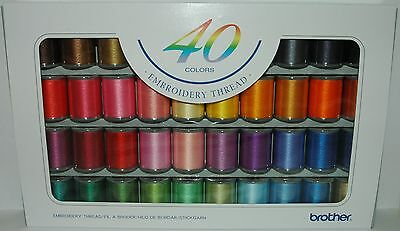 Brother Embroidery Machine Embroidery Threads box 0f 40 Reels of Thread - B244