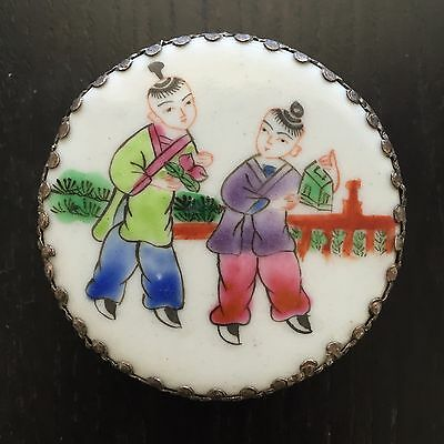 Fine Old Chinese Porcelain Shard Box Two Boys Figures Art White Brass NICE