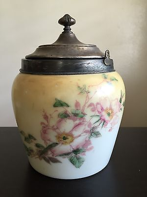 Fine Antique Opaline Glass Jar Silver Plated Lid w Hershey Kiss Finial Painted