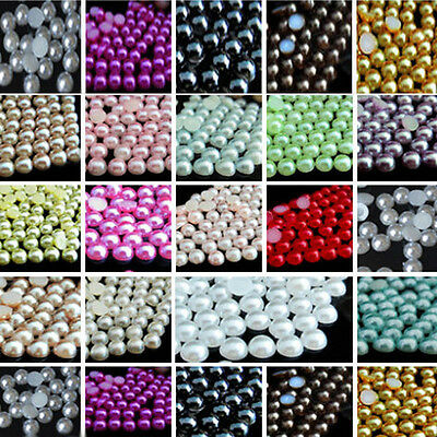 Wholesale 2000X Half Round Bead Flat Back Acrylic Pearl Scrapbooking Craft 2-8MM