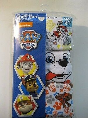 NEW Paw Patrol 3 Toddler Boys' Briefs Size 4T 100% Cotton FREE SHIPPING