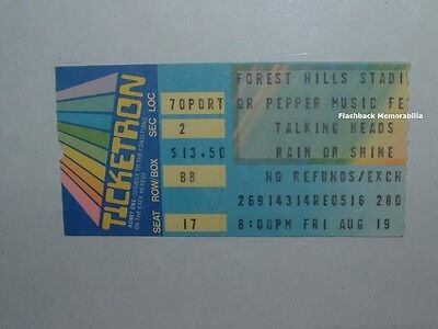 TALKING HEADS 1983 Concert Ticket Stub FOREST HILLS STADIUM QUEENS NY Very Rare