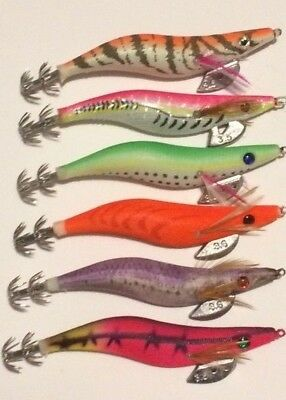 6 Squid Jigs Japanese Clothed Body EGI Squid Jigs #3.5  MY  NEW STOCK