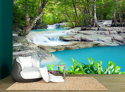 Waterfall Water Trees Nature Plants  Wall Mural Photo Wallpaper GIANT WALL DECOR